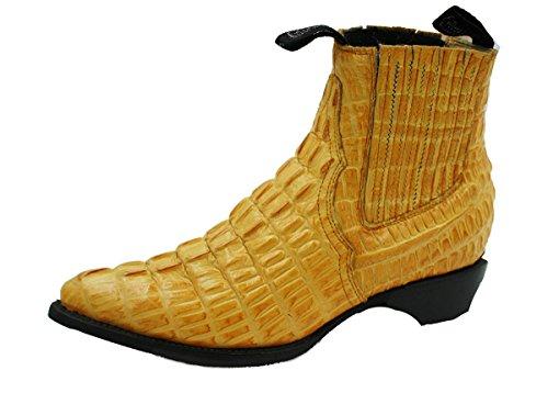 Men Genuine Cow Leather Crocodile Print Short Ankle Western j Toe (Cow Western Boots)