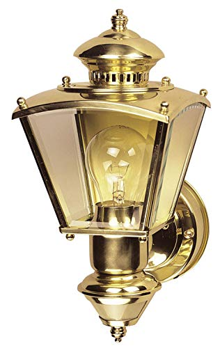 Heath Mounting Plate - Heathco HZ-4150-PB Polished Brass Charleston Style Motion Activated Lantern