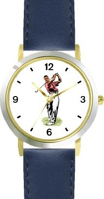 Tiger Woods Ladies Watch (Black Golfer Swinging - Golf Theme - WATCHBUDDY DELUXE TWO-TONE THEME WATCH - Arabic Numbers - Blue Leather Strap-Women's Size-Small)