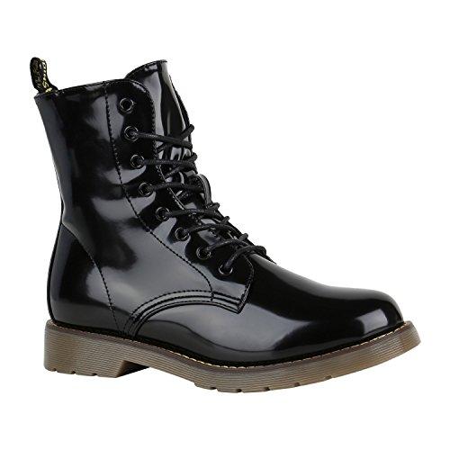Stiefelparadies Damen Stiefeletten Profilsohle Worker Boots Stiefel Leicht Gefüttert Flandell Schwarz Lack Amares