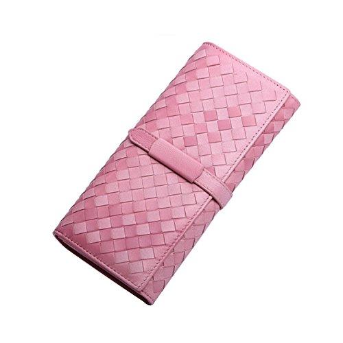 Ms Suave Piel De Oveja Tejido De Punto Cambiando Gradualmente De Color Monedero Largo Pink