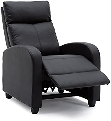 Recliner Chair Modern PU Leather Living Room Single Chairs Sofa Seat (Black)