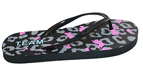Kvinnor Casual Strand Flip Flop Rem Sandal Med Leopardmönster, Mjuk Fotbädd Svart