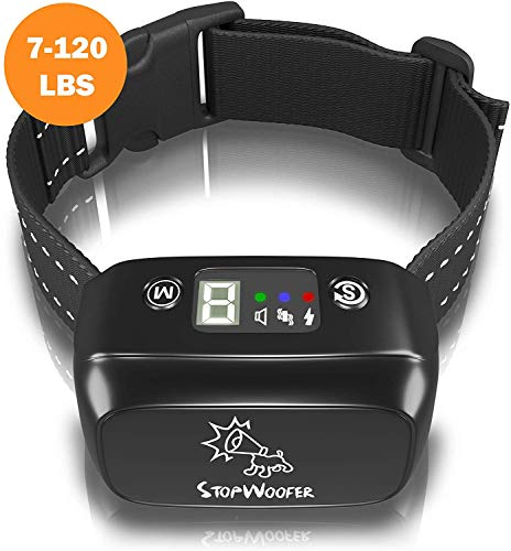 STOPWOOFER Humane Dog Bark Collar - Anti-Barking Collar for Small Medium and Large Dogs - Rechargeable Anti bark Collar - No bark Collars Sound Warning and Vibration- Dog Collar Anti Barking Device reviews