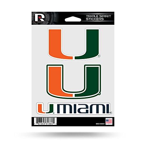 - Rico Industries NCAA Miami Hurricanes Die Cut 3-Piece Triple Spirit Sticker Sheet