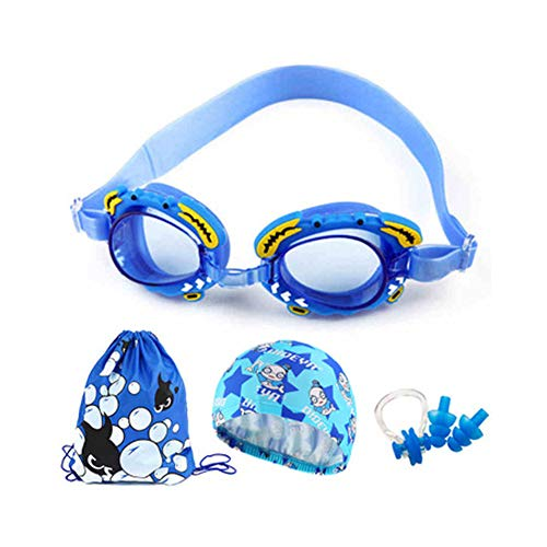 Price comparison product image LXFDS Swimming Goggles Children Cartoon Waterproof Anti-Fog HD Swimming Goggles Swimming Cap Set Children Swimming Goggles Children Goggles Set earplugs hat-Bluelake1