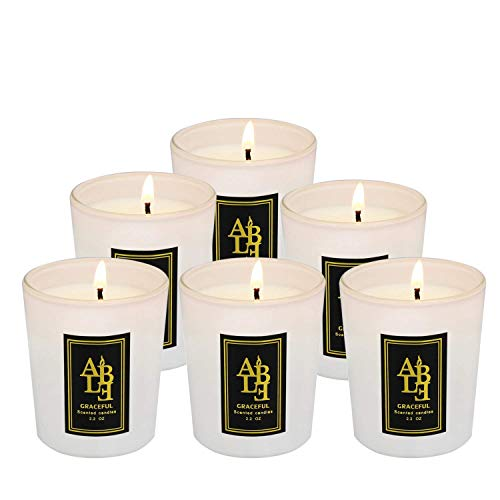 XYUT Citronella Candles Scented Soy Wax, 20 Hour Burn, Outdoor and Indoor, 6 Pack