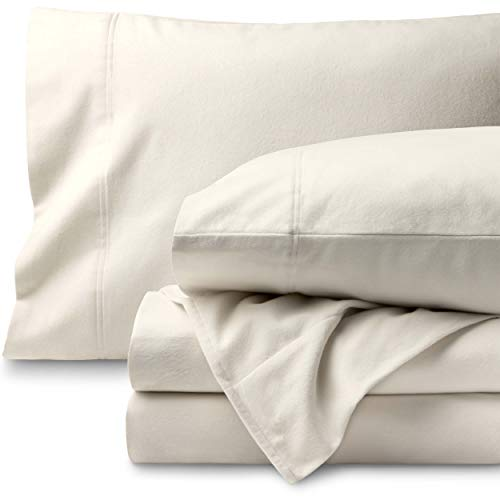 Bare Home Flannel Sheet Set 100% Cotton, Velvety Soft Heavyweight - Double Brushed Flannel - Deep Pocket (Queen, Ivory) - Ivory Flannel Fitted Sheet