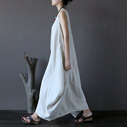 Loose Lightweight Tank Linen Dresses Aeneontrue Sundress Hemp Women's 100 naIxwBP