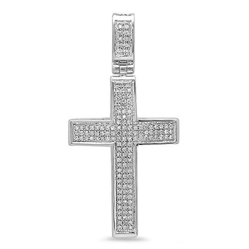 Dazzlingrock Collection 0.48 Carat (ctw) 14K Round Diamond Men's Cross Pendant 1/2 CT (Silver Chain Included), White Gold