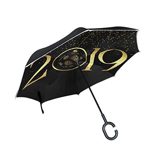 Reverse Umbrella,Happy New Year 2019 Inverted Night Reflective Edge Golf Umbrellas,Double Layered Polyester Canopy,O-Shape Handle
