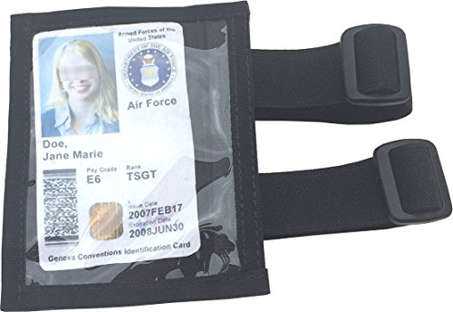 Fire Force Military Armband ID Holder Badge Holder with 2 Straps Made in USA (Black) - Forces Badge Security