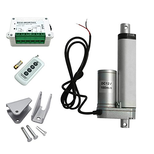 ECO-WORTHY 4 Inch Stroke Linear Actuator 12 Volt 12V 330 Pounds lbs Maximum Lift + Wireless Remote Controller Kit + Brackets