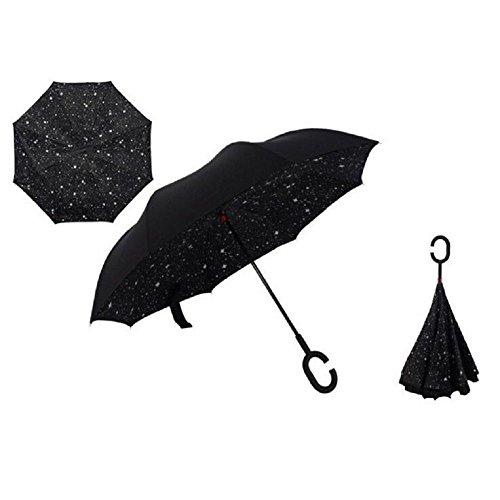 Autonorth Kreative Flip Regenschirm Doppelte Golfschirm Doppelte UV Schutz Sonnenschirme umkehren Auto Regenschirm Wasserdicht und winddicht - schwarz mit Stern