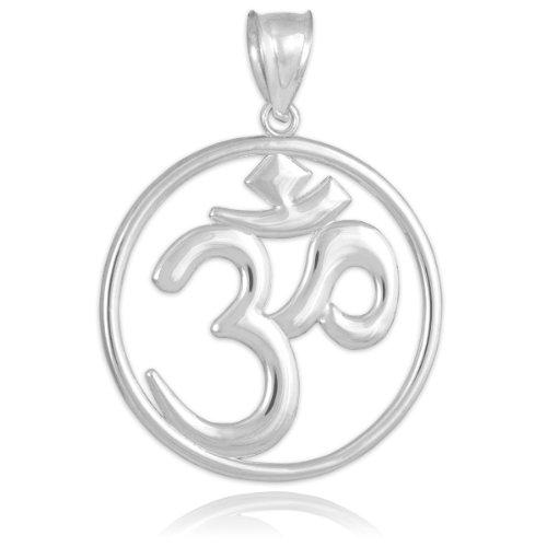 14k White Gold Openwork Hindu Meditation Charm Yoga Om Pendant (White-gold)