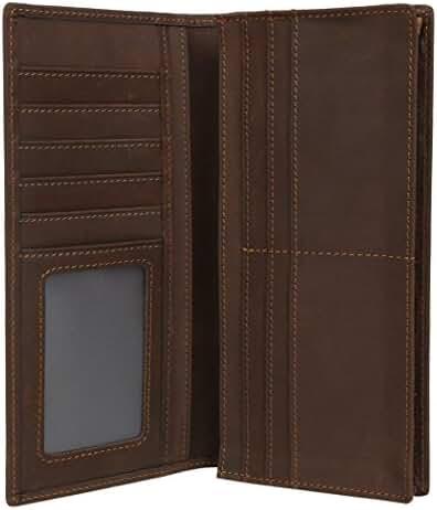 Sellse Men's Crazy Horse Leather Money Clip Long Biford Wallet