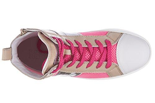 Sapatilhas Hogan De Rebelde 141 Couro Crianças Menina Sapatos R Tênis Bege Sq6Pax