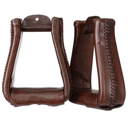 Tough-1 Leather Roper Stirrups Dark Oil ()