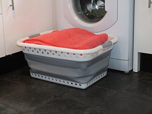 Zusammenklappbarer Wäschekorb. Plastik & Silikon. Großer, robuster, faltbarer Korb für Ihre Wäsche. Eleganter, reinlicher, platzsparender Korb, falls Sie Zuhause Platz sparen müssen. Attraktive graue Farbe, die zu allen Dekogeschmäckern passt.