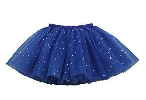(Buenos Ninos Girl's 3 Layers Sequin Ballet Skirt With Sparkling Stars Dress-up Tutu (Royalblue) Free size )