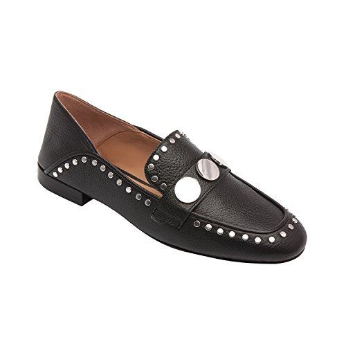 Linea Paolo Bonnie | Womens Piggdekk Flat Slip-on Håndlaget Moderne Dagdriver (ny Vår) Sort Skinn