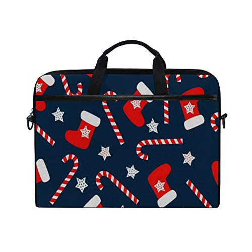 Christmas Socks Star 14 15inch Laptop Case Laptop Shoulder Bag Notebook Sleeve Handbag Computer Tablet Briefcase Carrying Case Cover with Shoulder Strap Handle for Men Women Travel/Business/School