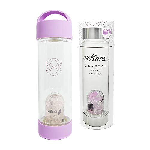Lifestyle Products Wellness Glass Water Bottle, Natural Amethyst and Quartz Crystals, Includes Protective Neoprene Sleeve