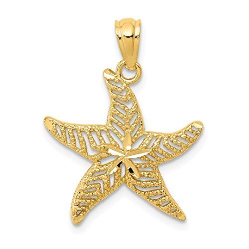 14k Yellow Gold Filigree Starfish Pendant Charm Necklace Sea Life Fine Jewelry For Women Gift ()