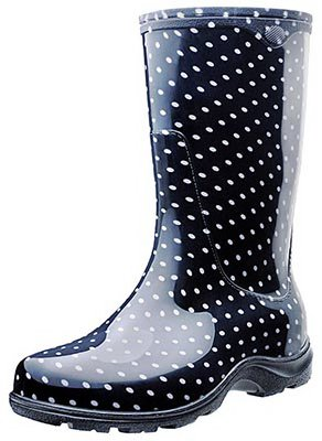 - Sloggers Women's Waterproof Rain and Garden Boot with Comfort Insole, Black/White Polka Dot, Size 7, Style 5013BP07