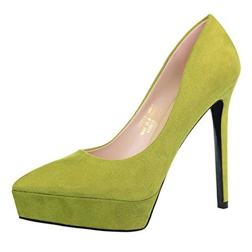 HooH Damen Büro-Dame Platform Stiletto Abendschuhe Pumps Grün