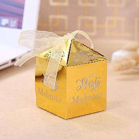 Wu 10 Cajas de Papel de Color Dorado con diseño de ramadán para decoración de Fiestas de Dulces y niños: Amazon.es: Hogar