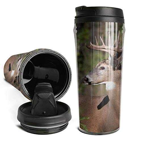 Thano Elk in the Sunshine Forest Tumbler Travel Mug Funny Insulated Tumbler with Lid Personalized Plastic Tumblers 16 Oz Clear Tumbler Double Wall Water Tumbler Cute Water Bottle