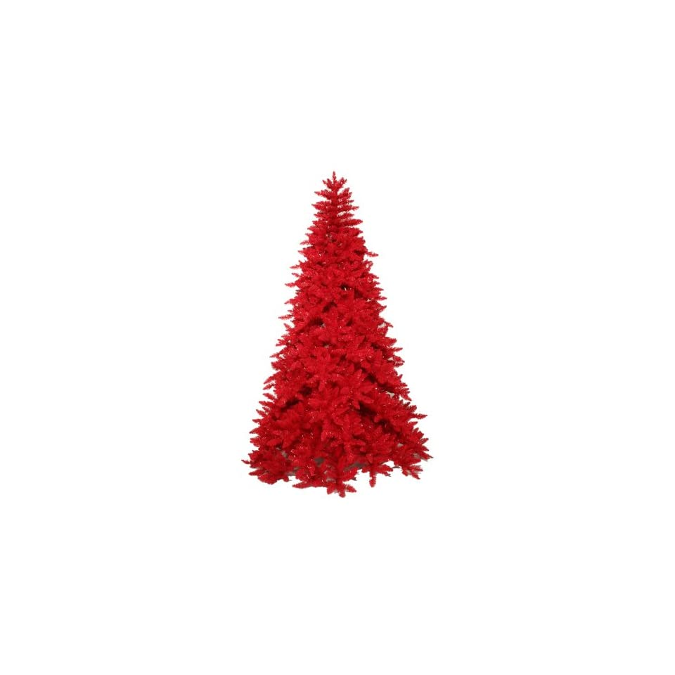 10 Pre Lit Red Ashley Spruce Artificial Full Christmas Tree   Red Lights