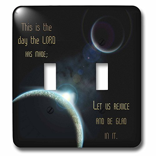 3dRose lsp_99100_2 A Sun Announcing A New Dawn Over A Solar System with The Bible Verse Psalm 118 Verse 24 - Double Toggle Switch by 3dRose