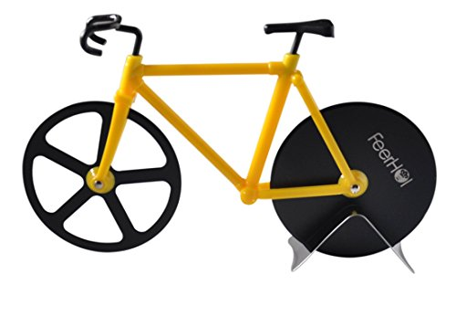 FeerHol's Stainless Steel Pizza Cutter Bike| The Fun Small Kitchen Gadget/Pizza Tool For Men & Women & Kids|