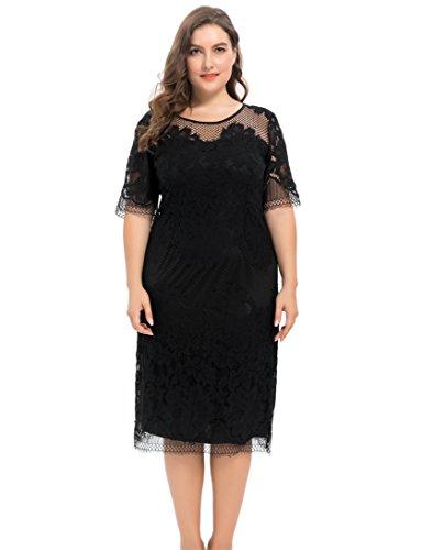 Chicwe Mujeres Tallas Grandes Vestido Forrado Encaje Floral - Casual Fiesta Cóctel Vestido con Longitud a la Rodilla Negro