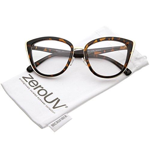 zeroUV - Oversize Rimmed Metal Frame Clear Lens Cat Eye Glasses 55mm (Tortoise Gold/Clear)