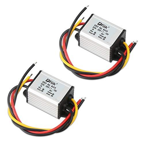 5V DC Converter, DROK 2pcs Waterproof DC Buck Converter 8V-22V 12 V Step Down to 1V-15V 6V 9V 3A Adjustable Power Supply Voltage Regulator Module