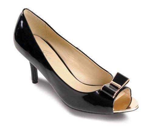 Shoes Contrast Paten SAPPHIRE Women's Ladies Smart Bow Gold Black Toe Peep Heels Kitten xnWTIROq