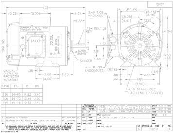marathon f103 farm duty high torque motor, single phase capacitor start, 3 4 hp, 1800 rpm, 115 208 230v, 11 0 5 4 5 5 amp Century Single Phase Motor Wiring Diagram