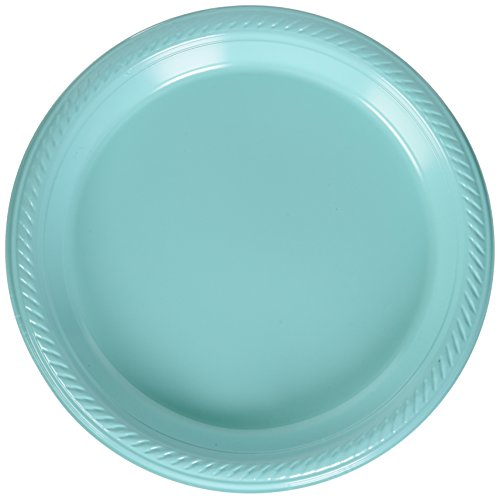 Amscan Big Saver Pack Dessert Plastic Plates Party Supplies (300 Piece), Robin Egg Blue, 7 Inch by Amscan