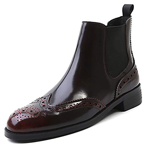 inter Wing-tip Comfortable Brogue Leather Chelsea Ankle Boots Women Booties Brown Box Leather8.5 ()