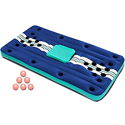 Wanderlust Inflatable 7 Piece Pool Beer Pong Set Raft Float with Drinks Cooler for Summer Parties, Outdoor Play, Beach, Camping, Road Trips, Vacation, and More