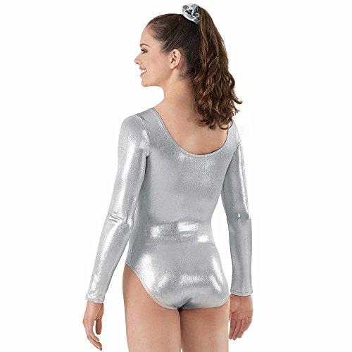 Women's Long Sleeve Shiny Silver Lycra Leotard (M)