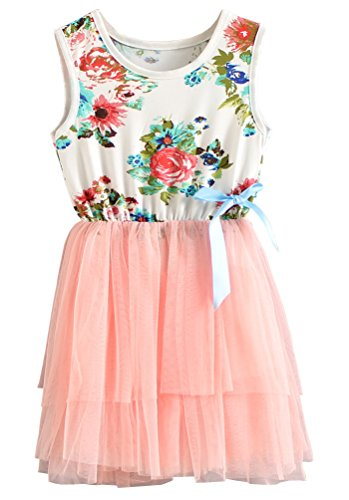 Theplus Little Girls Sleeveless Floral Princess Dress Tulle Tutu Sundress 5 Pink (Pink Sundress Dress)