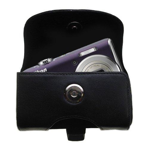 Gomadic ブランド 水平 ブラックレザー キャリングケース Nikon Coolpix S620用 ベルトループとオプションのベルトクリップ付き B004JOYZ1I