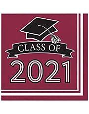 "Creative Converting Burgundy 2021 Grad Napkins, 6.5"""