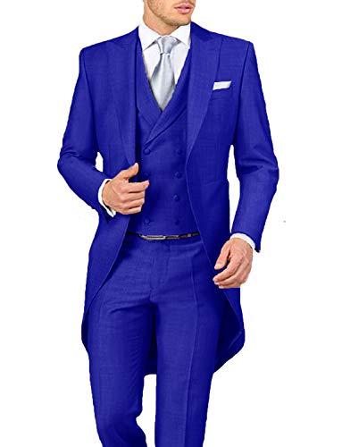 Stylish Wedding Suits Tux for Men 2019 Classic Fit Peak Lapel Mens Suits Royal Blue Groom Tailcoats Jacket Blazer ()