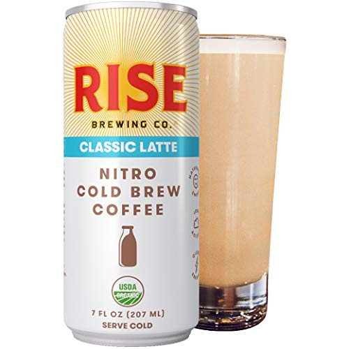RISE Brewing Co. | Classic Nitro Cold Brew Latte (4 7 fl. oz. Cans) - USDA Organic, Non-GMO | Carrageenan Free | Clean Energy, Low Acidity, Slightly Sweet & Refreshingly Smooth | 125 Calories