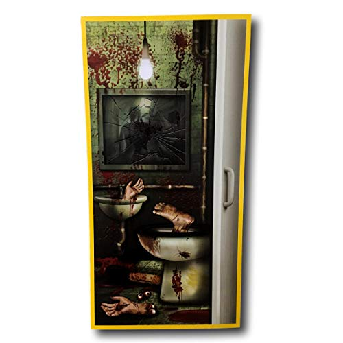 Fright Night Halloween Bloody Door Cover with Body Parts and Blood Splatter Decoration